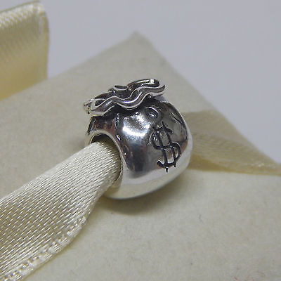 New Authentic Pandora 790332 Charm Sterling Silver Money Bag bead Box Included
