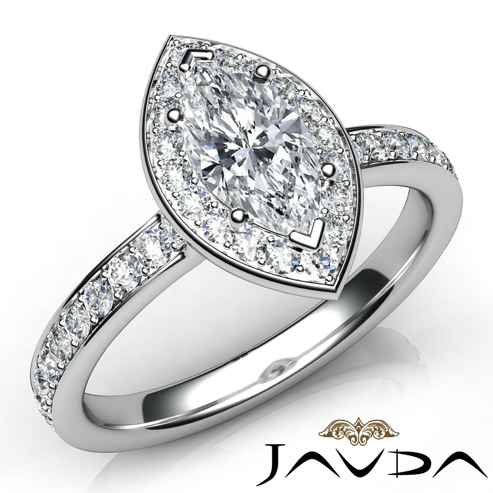 0.95ctw Halo Pave Accent Marquise Diamond Engagement Ring GIA E-VS2 White Gold
