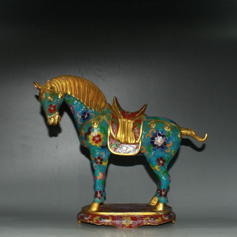 Chinese Cloisonne Brass Handmade Exquisite Gilded Horse Statue 60413