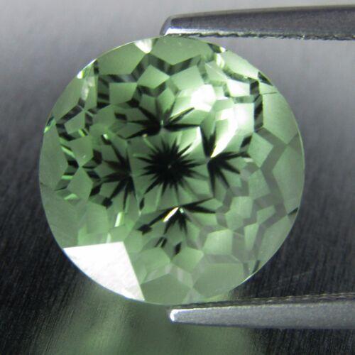 "9.58Cts Natural Green Amethyst (prasiolite)Round Magic Cut Loose Gem ""Ref VIDEO"