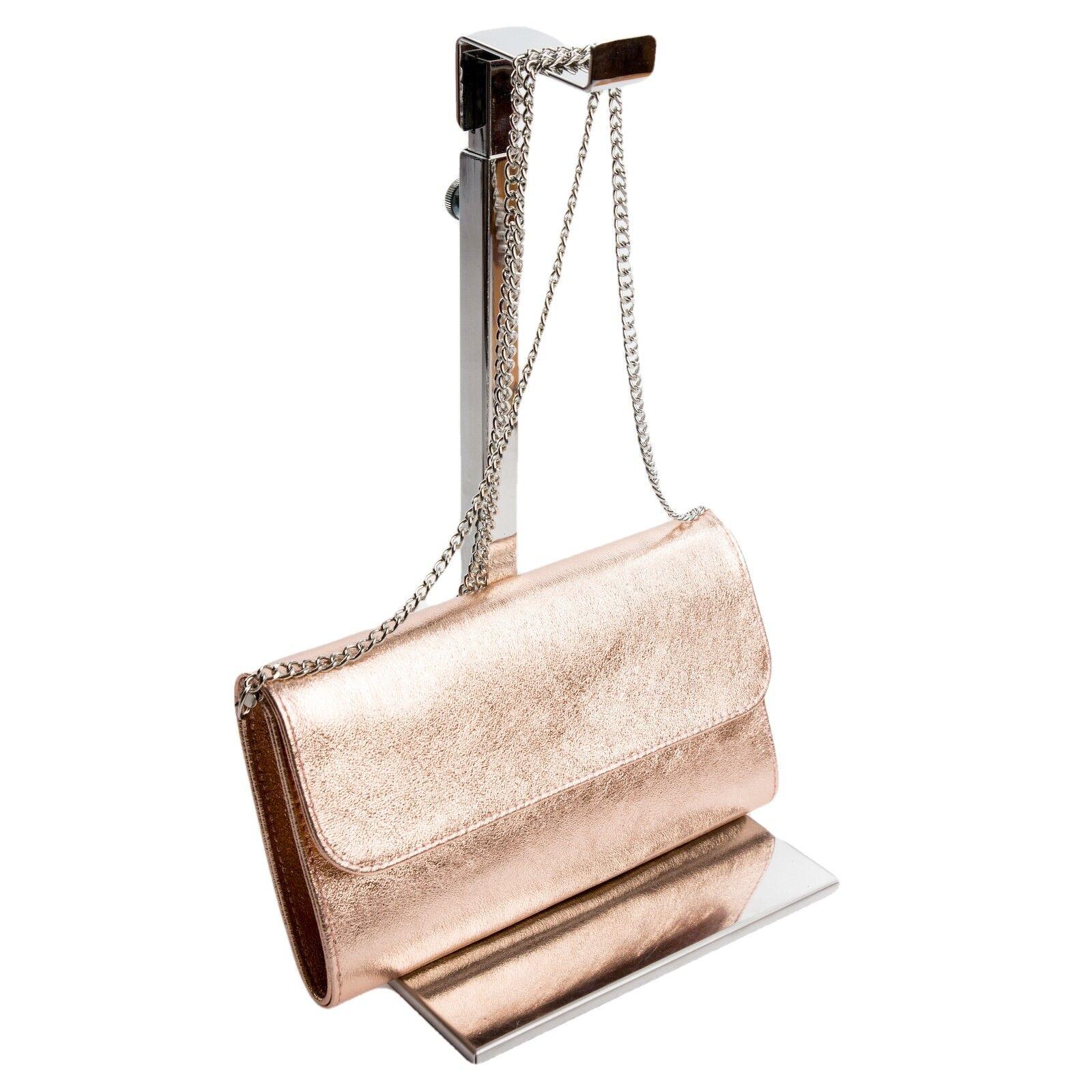 Ital. Baguette Abendtasche Pochette Clutch Rosé Gold metallic ECHT LEDER 872RG