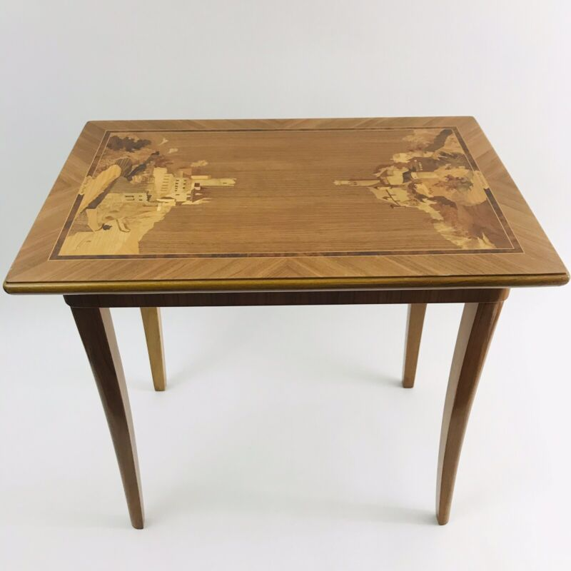 BUCHSCHMID & GRETAUX German Castles Wood Inlay Marquetry End Table - RARE!