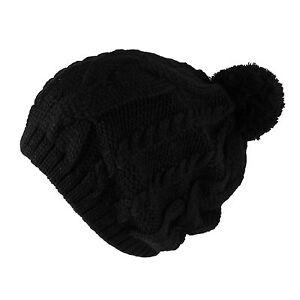 Thick Crochet Knit Pom Pom Hip-hop Slouchy Beanie Warm Winter Hat Womens Mens