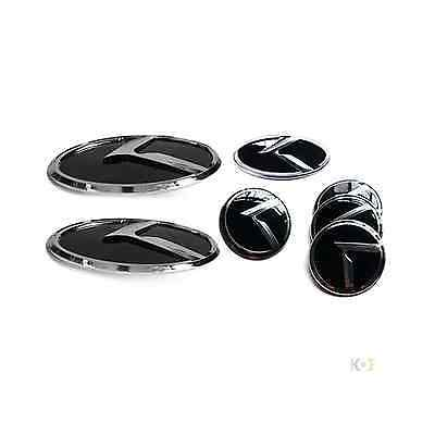 3D K LOGO Emblem Badges 7pc SET(Front+Rear+Steering+Wheel Caps fit on KIA Optima