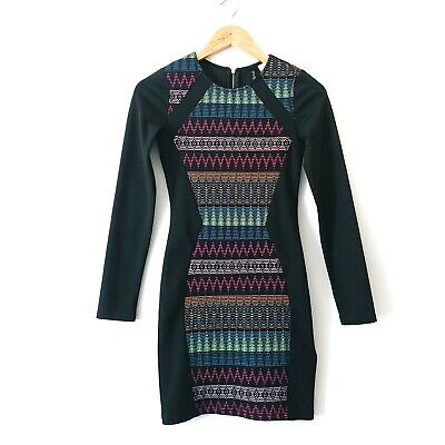 H&M Divided Neon Tribal Long Sleeve Bodycon Party Cocktail Dress Womens Size 4