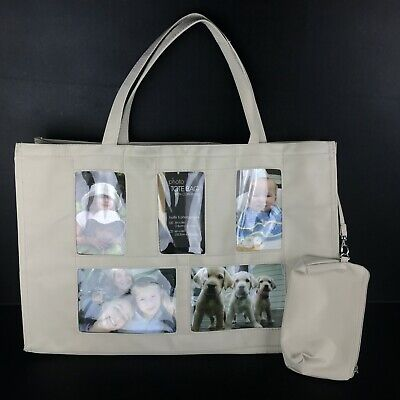Large Photo Tote Brag Bag with Zip Coin Purse 5 Photo Slots Sewing Yarn Craft Photo Brag Bag