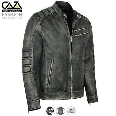 Mens Motorcycle Vintage Distressed Black Real Leather Biker Cafe Racer Jacket