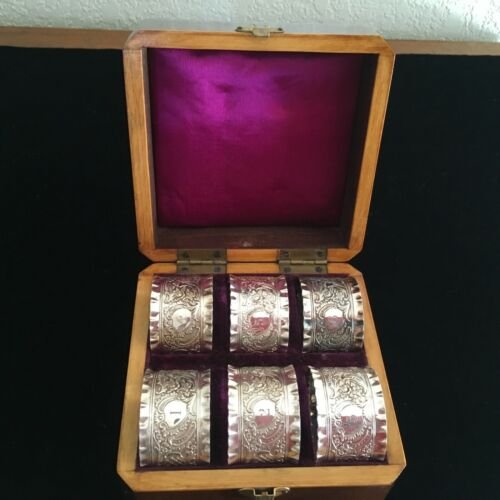 """Set Of Six """"6"""" Silver Plated Napkin Rings In Fitted Tooled Wood Presentation Box"""