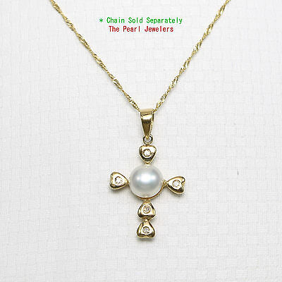 14k Yellow Gold & Diamond Love Cross Natural White Cultured Pearl Pendant Cultured Pearl Yellow Cross
