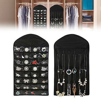 Closet Hanging Jewelry Organizer Necklace Storage Holder Travel Display Case (Jewelry Display Case Necklace)