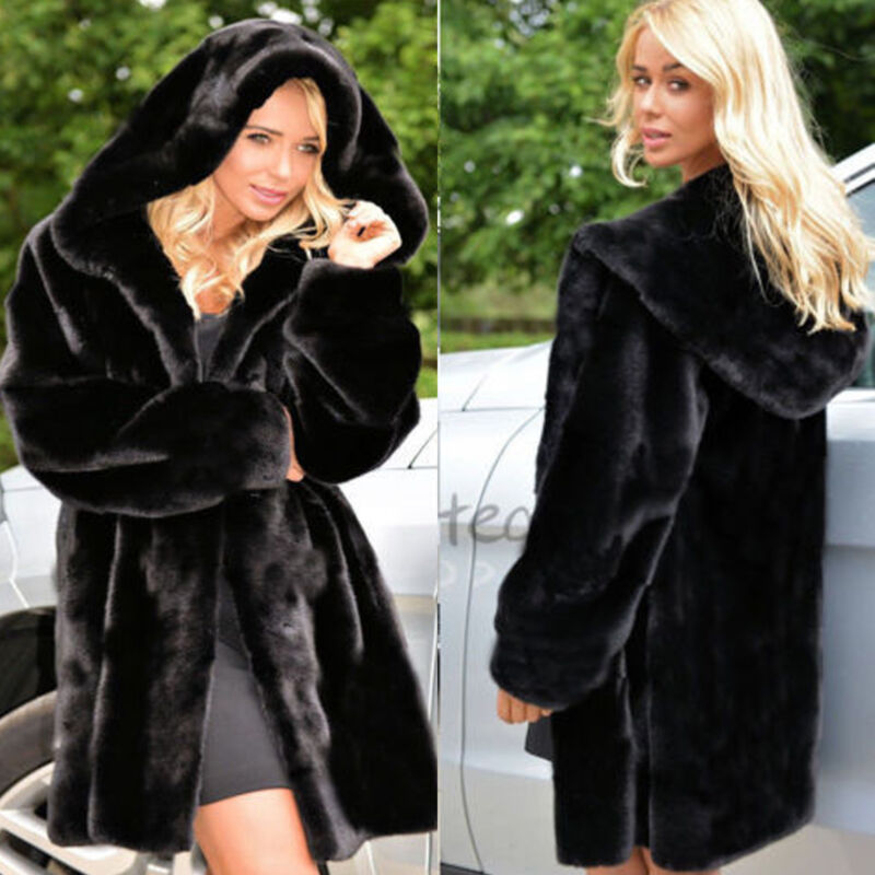 Women Warm Winter Thicken Faux Fur Coat Hooded Parka Overcoat Jacket Outwear 2XL