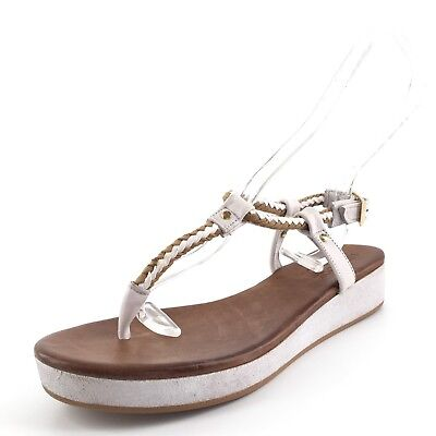 Miz Mooz The Inuovo White Leather Thong Braid Platform Sandals Womens Size 39 M*