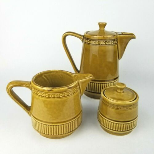 Vintage German Teapot with Creamer and Sugar Set Waku Feuerfest Mustard Yellow