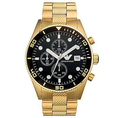 New Emporio Armani Mens Gold Tone Chronograph Watch AR5857