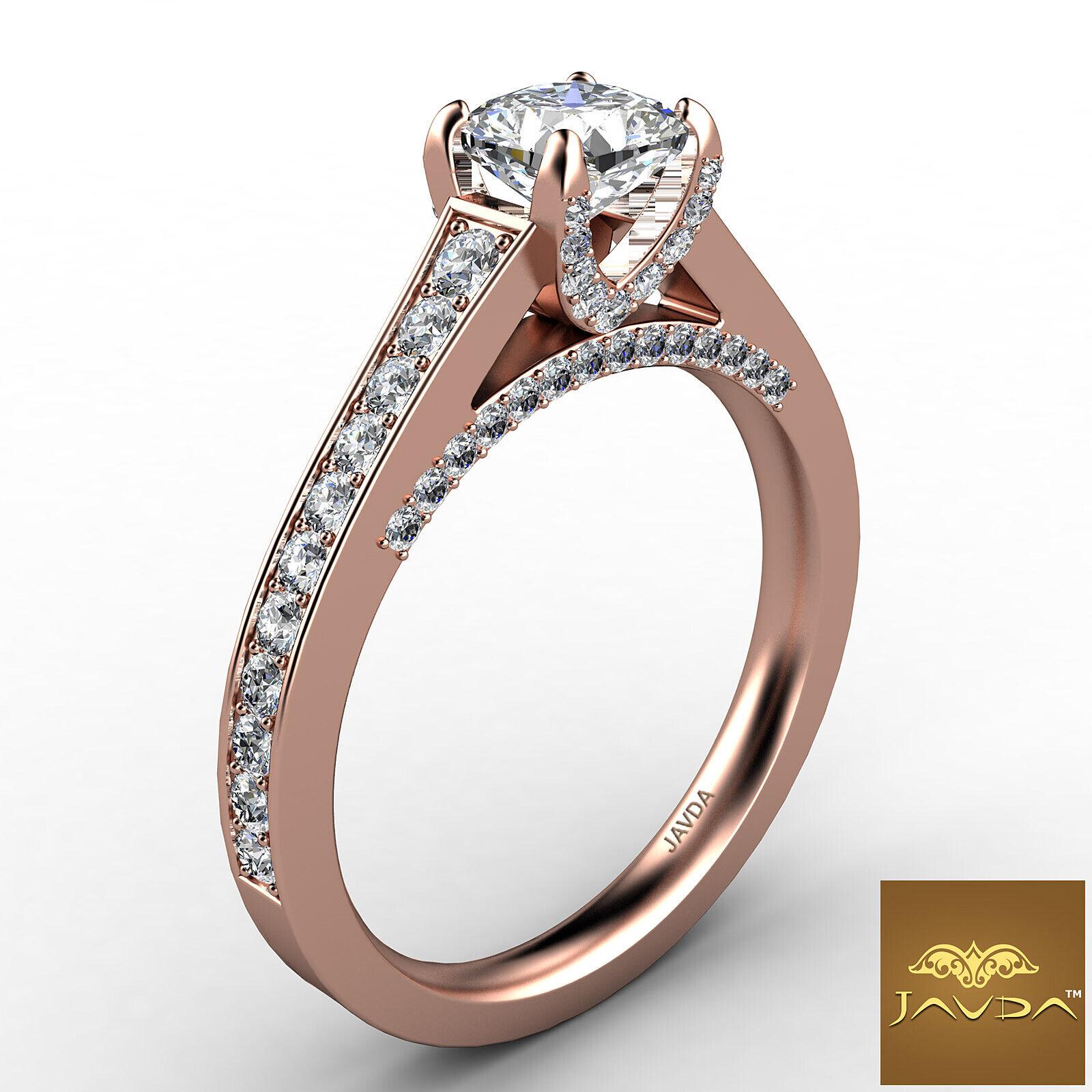 Cushion Cut Diamond Flawless Engagement GIA G VVS2 Pave Set Ring Platinum 1.25Ct 10