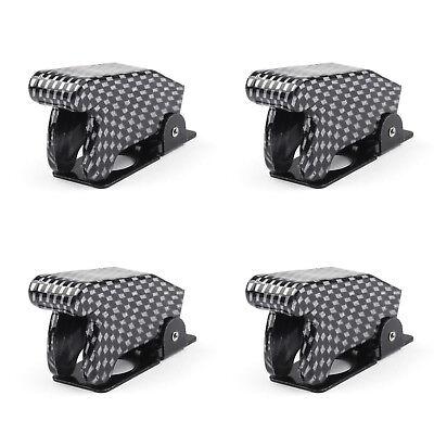 4pcs Toggle Switch Boot Plastic Safety Flip Cover Cap 12mm Carbon Fiber Ue
