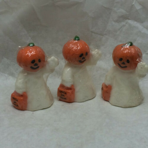 3 Halloween Candle Figurines Pumpkin Head Ghost 1989
