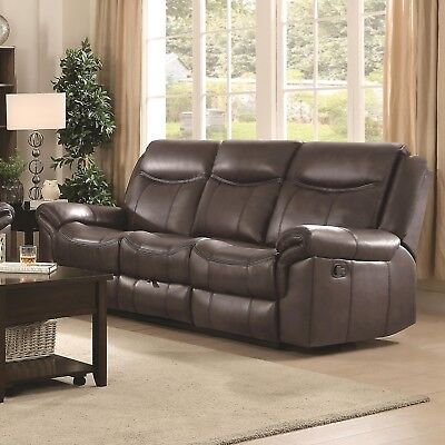 COCOA BROWN LEATHERETTE RECLINING USB SOFA w/ CONSOLE LIVING ROOM FURNITURE Chocolate Reclining Sofa