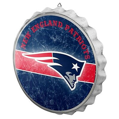 New England Patriots Bottle Cap Wall Sign Distressed Room Bar Decor Metal 13.5