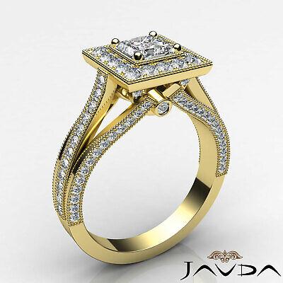 Milgrain Bezel Princess Diamond Engagement Split Shank Ring GIA F VVS1 1.40 Ct 8
