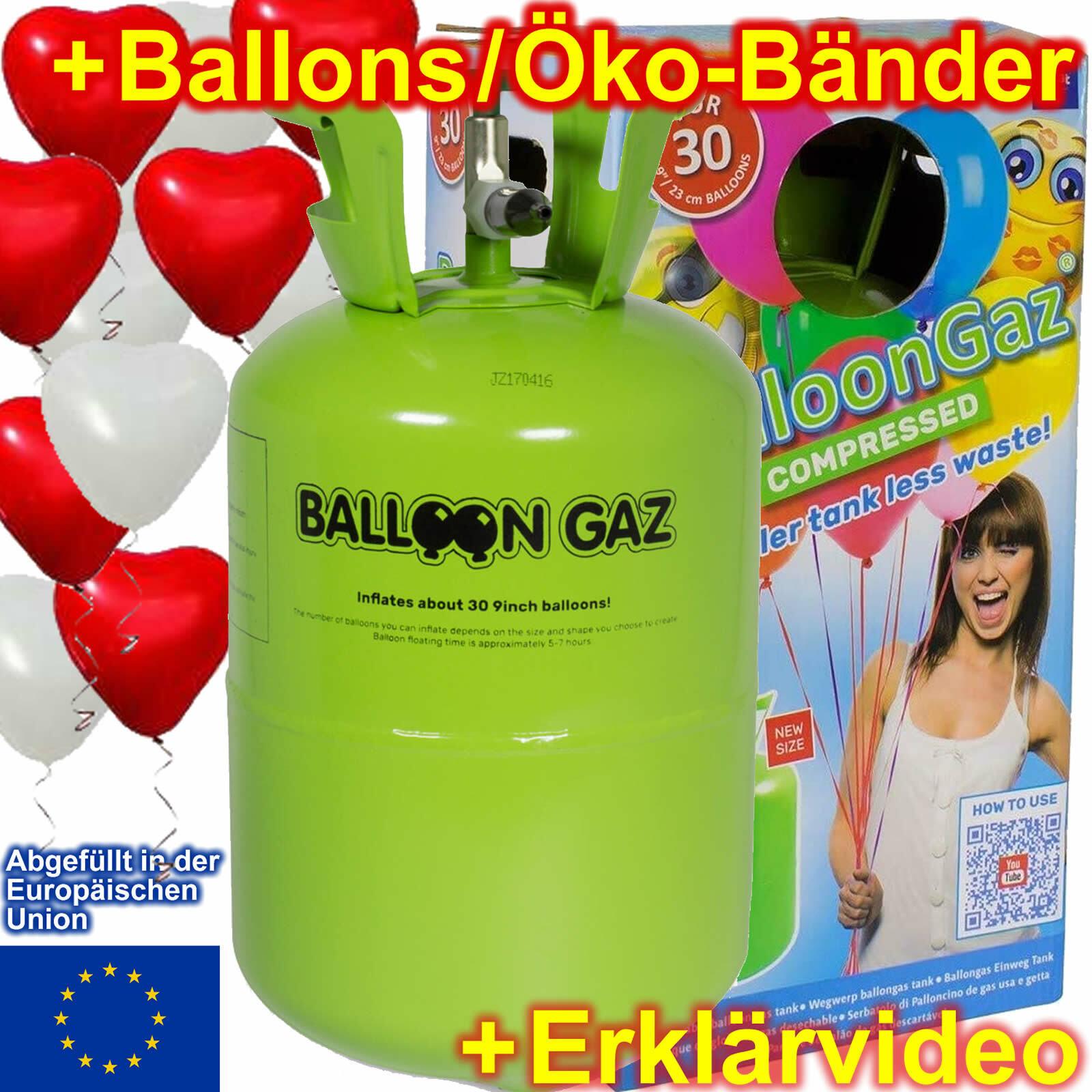 BALLONGAS HERZBALLONS BÄNDER - Helium Herzen Luftballons Party Hochzeit Deko