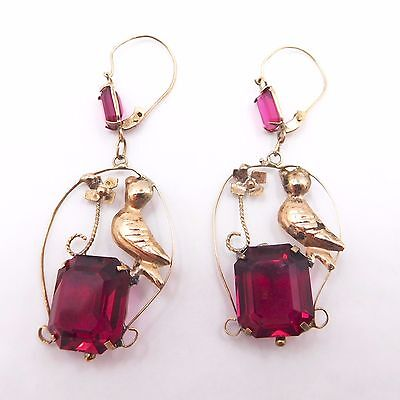 Victorian Antique 12k Gold Wire Bird  Earrings with Cranberry Red Glass Stones