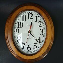 VERICHRON Dark Brown Large Oval Wood Glass Frame Vintage Quartz Wall Clock Works