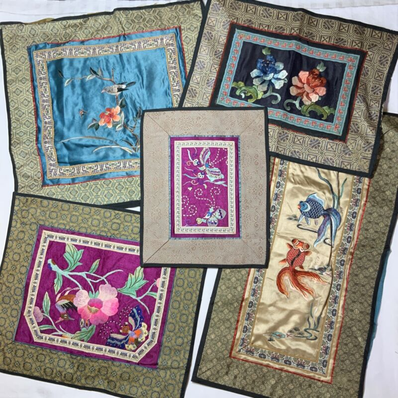 Vintage Lot Of 5, Asian/Chinese Silk Embroidery Panels, Fish/Birds/Butterflies