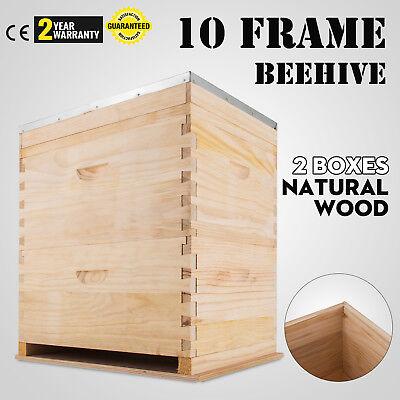 Complete Beekeeping 2 Layers Beehive Box Kit 1 Medium 1 Deep Langstroth Hive