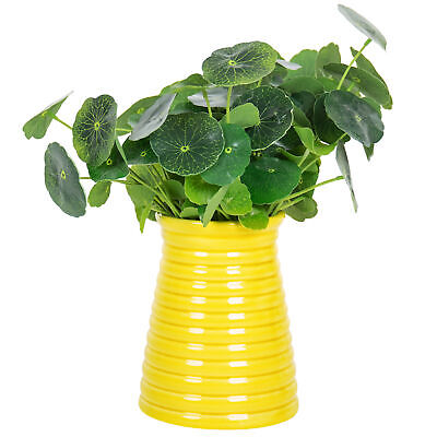 Ribbed Design Small Yellow Ceramic Tabletop Centerpiece Vase / Flower Pot