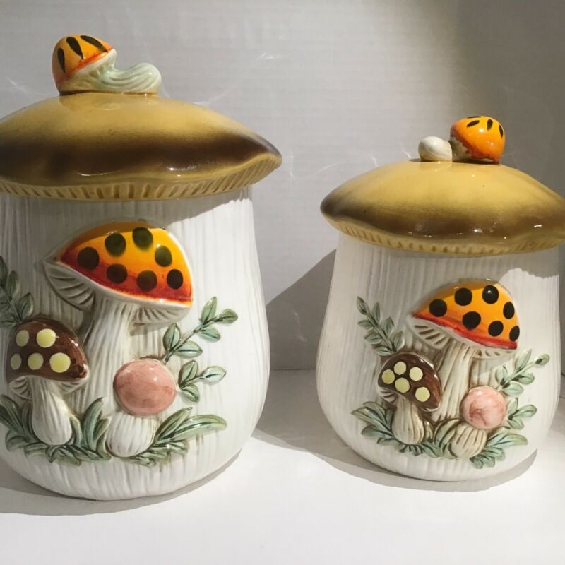 """1978 Sears Roebuck and Co Merry Mushroom Set of 2 Canisters 8.5"""" and 6.5"""""""