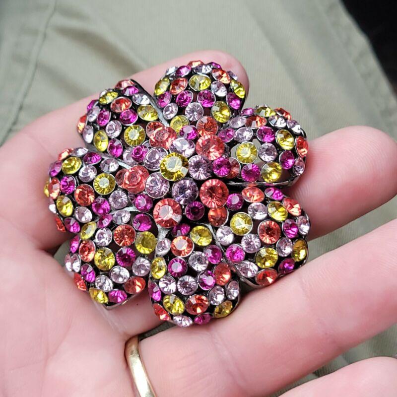 Nice Beautiful Wonderful multicolor rhinestone Joan Rivers floral pin brooch
