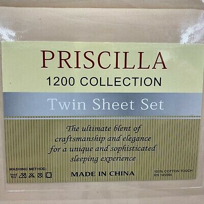 Priscilla brand 4-Piece Twin Sheet Set Peach Color 100% Cotton 1200 Series