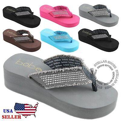Womens Wedge Thong (NEW Womens Fashion Wedge Platform Thong Slip On Flip Flops Sandals EVA 2.5 inch )