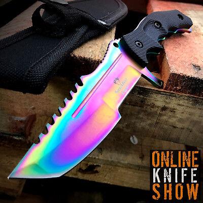 Tactical Survival Rambo Full Tang Fixed Blade Knife Hunting W  Sheath Huntsman
