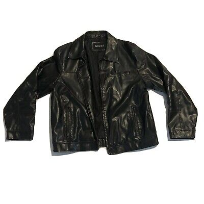 Guess Men's Leather Jacket Size XL Black Full-Zip Collared Biker Bomber