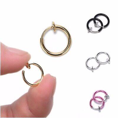 Clip on Fake Ear Body Nose Lip Ear Cartilage Hoop Rings Earrings Non-Pierced 4PC