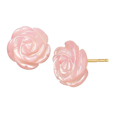 Pink Natural Mother-of-Pearl Flower Stud Earrings in 14K Gold