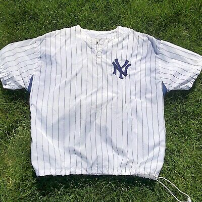 Vintage New York Yankees STARTER Footlocker Windbreaker Batting Jacket Dugout Lg