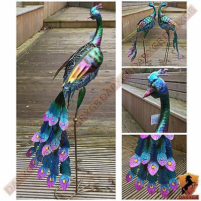 Large Coloured Crafted Metal Standing Peacock Garden Ornament Sculpture NEW