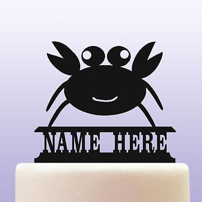 Personalised Acrylic Childrens Cartoon Crab Face Birthday Cake Topper - Crab Birthday Cake