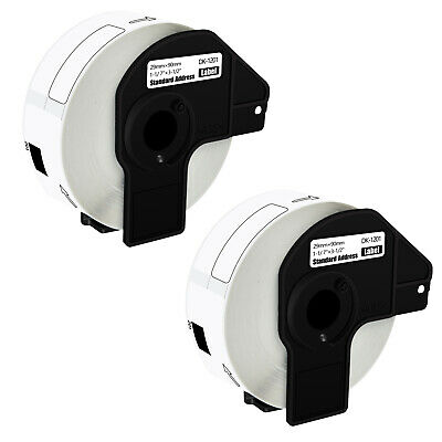 2 Rolls 29mmx90mm Shipping Label 1-17x3-12 Compatible Brother Ql500 Dk-1201