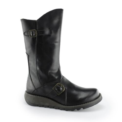 22c18f2ddb9 Details about Fly London MES 2 Ladies Womens Leather Zip Up Mid Calf Comfy  Casual Boots Black