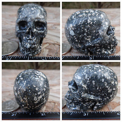 "2.02"" Guinea Fowl Jasper Skull Carved Stone 97g 3.4oz Crystal Healing Realistic"