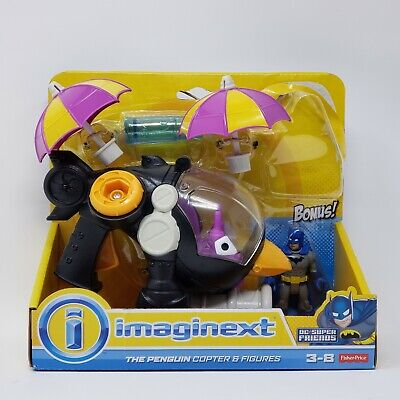FISHER PRICE IMAGINEXT DC FRIENDS PENGUIN COPTER BATMAN HELICOPTER PLAY SET NIB