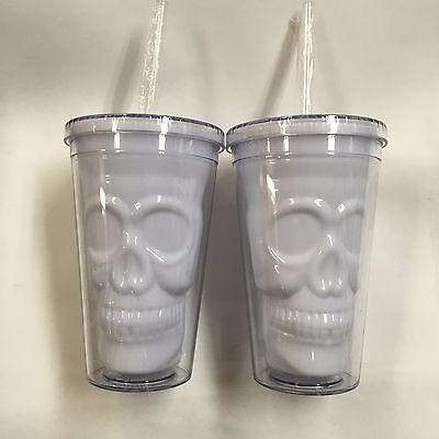 HALLOWEEN SKULL DRINKING CUPS W STRAW SET OF 2 BPA FREE SCREW TOP - Halloween Skull Cups