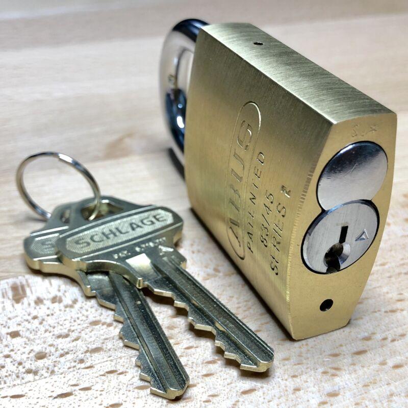 SCHLAGE EVEREST KIK Cylinder w/ 2 Keys & Security Pins in New ABUS 83/45 Padlock