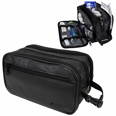 Mens Toiletry Bag with Zipper PU Leather Case Organizer Portable Travel Dopp Kit