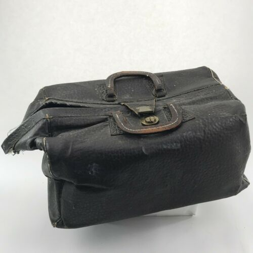 Antique Doctors Bag Leather Handles Black Vintage Medical Satchel Case Large
