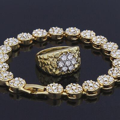 Gold Mens Cluster Ring - Mens 2pc Cluster Cz Bracelet Flower Ring Set Iced Out 14k Gold Plated Hip Hop